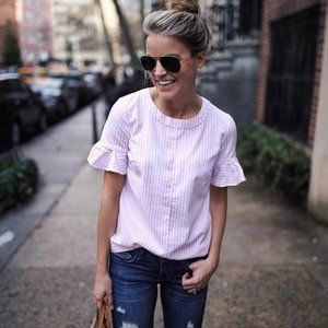 Banana Republic Flutter Sleeve Top Pink and White